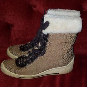 Coach Shoes - Coach Nancy Wedge Fur Boots